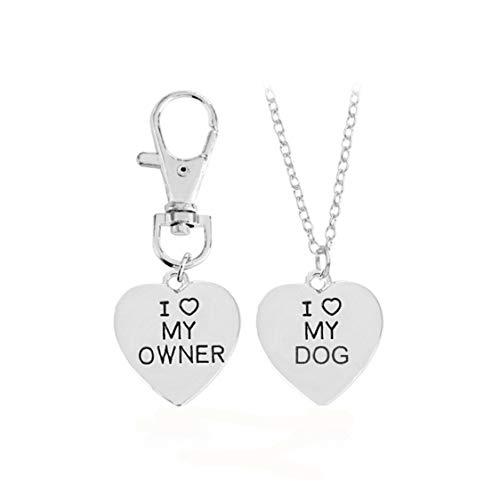 Idiytip 2 Teile/Satz Herz Anhänger Ich Liebe Mein Besitzer/Hund Halskette Schlüsselbund Tier Beste Freund Memorial Halsketten Schmuck (Silber)