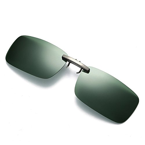 VRTUR Sonnenbrille Aufsatz, 2-Stück Clip on Polarisiert Clip polarisierte Sonnenbrille Flip up Sonnenbrille Clip Gegen Licht für Frauen und Männer Unisex Brillenträger(One size,Grau)