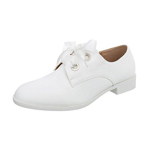 Ital-Design Schnürer Damen-Schuhe Blockabsatz Schnürsenkel Halbschuhe Weiß, Gr 39, Biy9023-Cs-