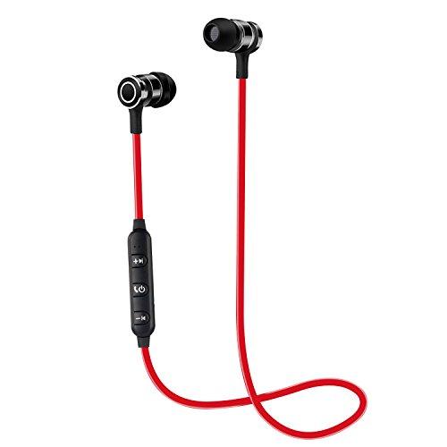 Auriculares Bluetooth CHXYGOING Auriculares Inalámbricos Bluetooth 4.1 magnéticos y deportivos Estéreo Auriculares en la oreja con Micrófono para IOS, Android Teléfonos Inteligente, Tabletas, Computadora (3-1 Rojo)