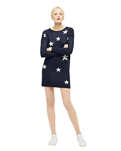 ONLY Damen Strickkleid onlKARINNE L/S DRESS KNT Strick Long-Pullover (Blau weiße Sterne ( Night Sky ), 36 ( Herstellergröße S ))