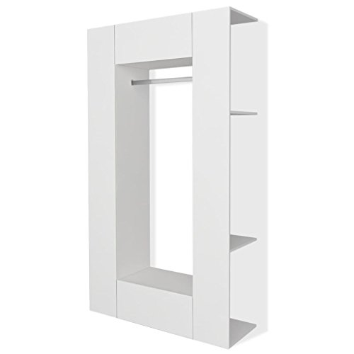 Festnight Kleiderschrank Garderobenschrank Dielenschrank Spanplatte 106 x 36,5 x 192 cm Weiß