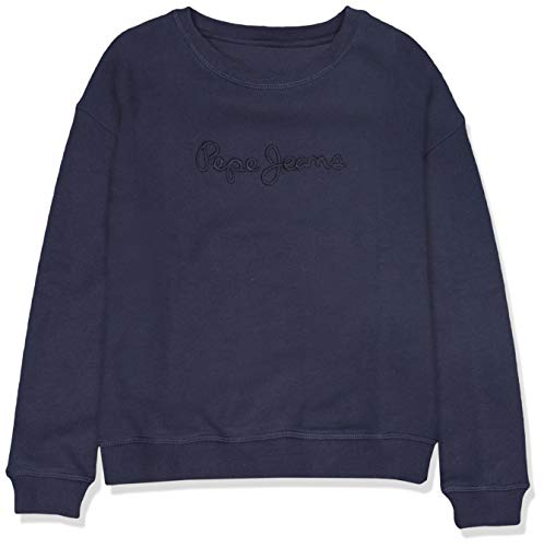 Pepe jeans crew neck girls felpa, blu (navy 595), 11-12 anni (taglia produttore: 12) bambina