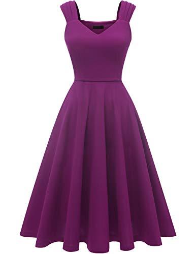 DRESSTELLS 1950's Robe de soirée Cocktail Vintage années 50 col en V sans Manches Longueur mi-Mollet Purple L