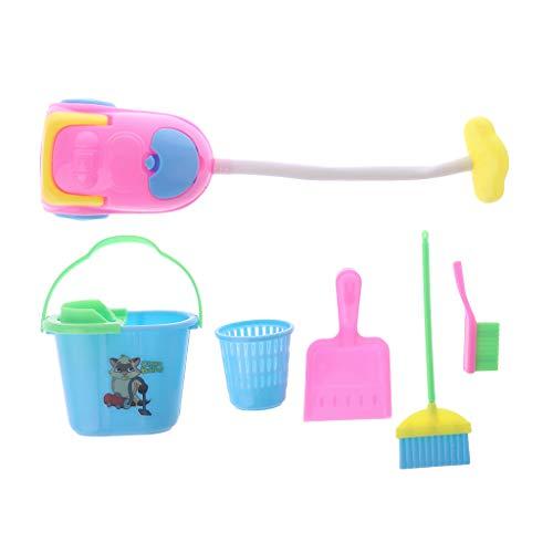 WDTong1 Set Puppe Reinigungswerkzeug Miniatur Spielzeug Möbel Puppenhaus Haus Spiel Kinder Kinder Haushalt Staub Reiniger Eimer Kunststoff Besen Vortäuschen Spielen Reinigung Puppen Zubehör (Bed Spielen Baby Doll)