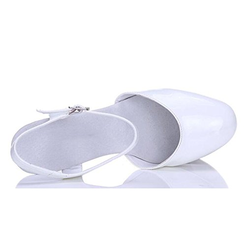 W&LMpaillettes Baotou sandali Spessore inferiore Scarpe Ruvido con Piattaforma impermeabile Tacchi alti Scarpe modello Scarpe da lavoro Scarpe da banchetto White