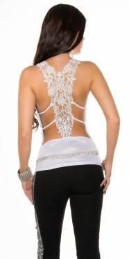 Mesdames top chemise en dentelle de broderie Mega col V ébouriffé Glitter Uni longueur de la hanche Blanc