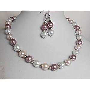 2er SET Glas Perlenkette/Collier gänzend rosa Töne + weiß + Ohrhänger Edelstahl /A255