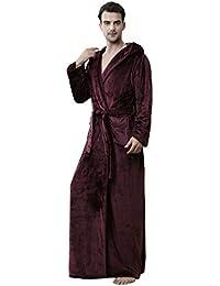 7b4a23a2d5 MiaoFan Unisex Couple Flannel Hooded Dressing Gown Fluffy Long Sleeve Wrap  Bathrobe Plus Size Housecoat