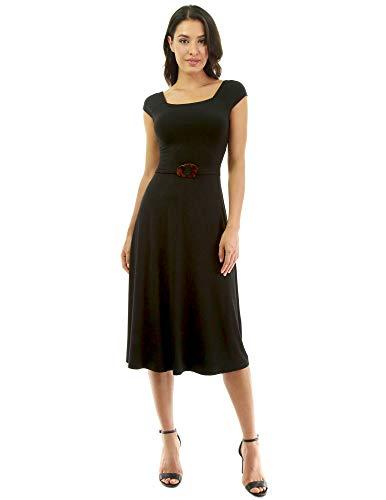 PattyBoutik Damen Kleid mit U-Ausschnitt und gekreuztem Rücken (schwarz S 36/38) (Lang Square Neck Kleid)