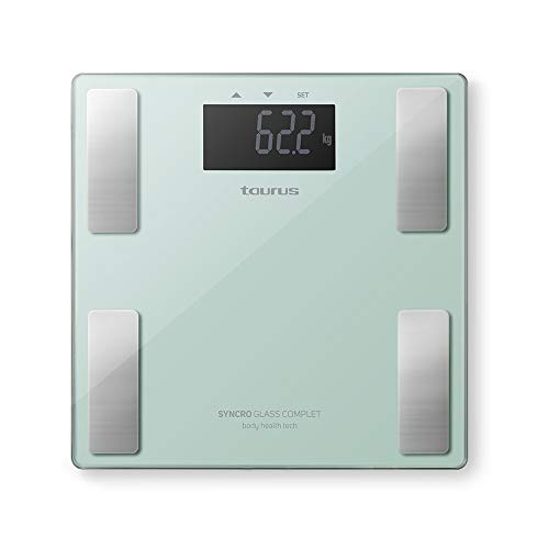 Taurus Syncro Glass Complet Báscula baño digital inteligente, porcentaje grasa y agua, masa muscular y ósea, 3-180 kg, kg/lb, 28 x 28 x 2 cm, verde