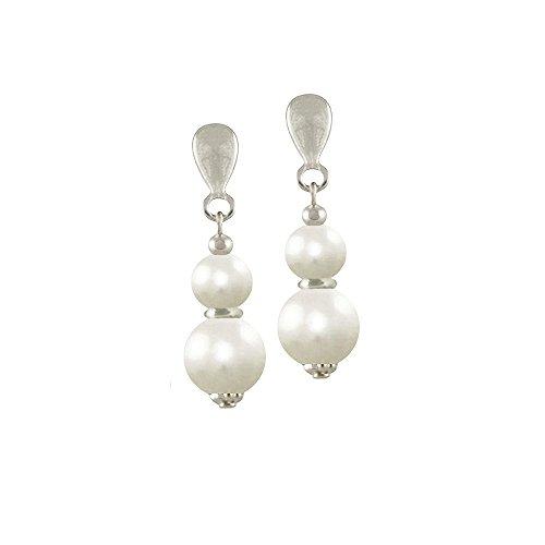 Filigrane weiße Perle Silber Ohrclips Tropfenform mit Geschenkbox