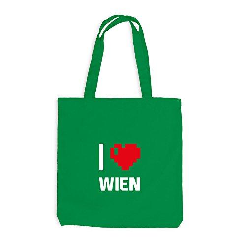 Jutebeutel - I Love Wien - Österreich Reisen Herz Heart Pixel Kellygrün