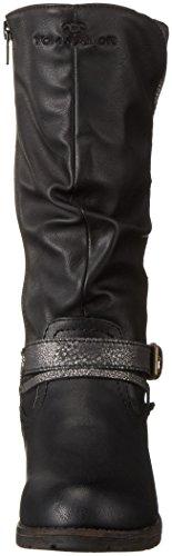 Tom Tailor 1670107, Bottes Haute Fille Noir - Noir