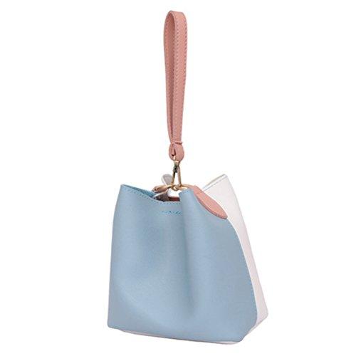 QGSDR Neue Frauen Leder Handtasche Crossbody Taschen Kleine Eimer Tasche Schulter Messenger Bag Blue 17cmx11cmx19xm (Kurze Bag Tote Nylon)