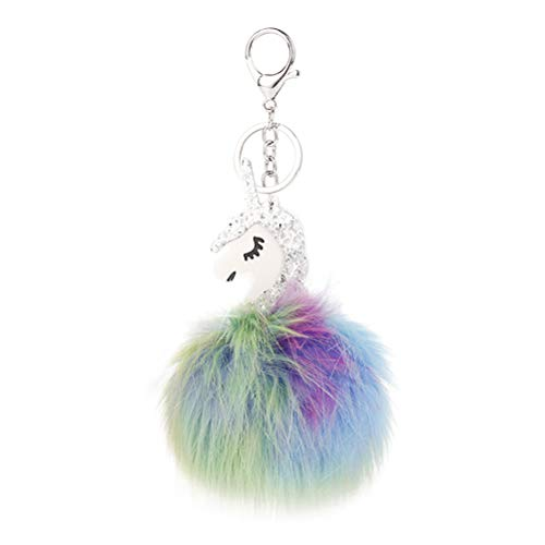 YeahiBaby Glitter Einhorn Keychain Fellknäuel Keyring Pompom Ball Charme Schlüsselanhänger (Silber)