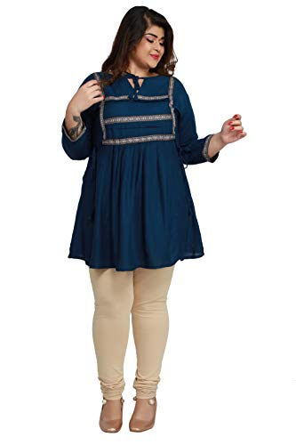 KURTIS INDIA Women's Rayon Plus Size Kurti (Bue) Blue