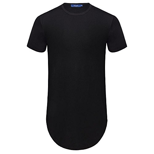 AIYINO Men's Hipster Hip Hop Short Sleeve T-Shirt With Zipper Trim