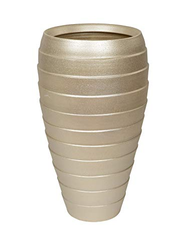 Lifestyle & More Moderne Dekovase Blumenvase Bodenvase Vase aus Keramik Champagner Gold Höhe 60 cm