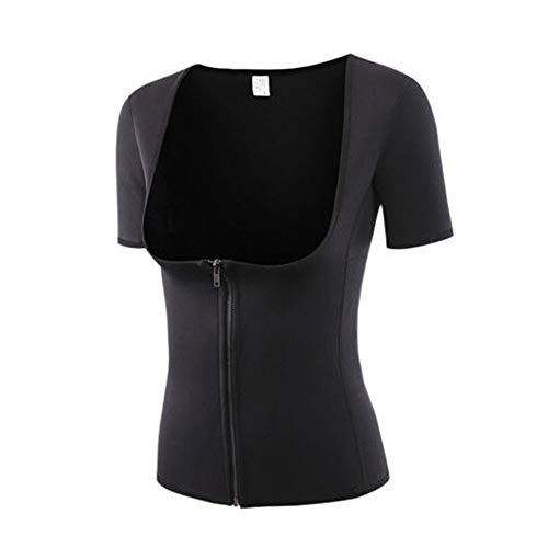 iHENGH Karnevalsaktion Damen Body Shaper Reißverschluss Kurzarm Taille Trainer Shapewear Weste Frauen Top Bluse