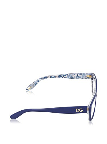 Dolce & Gabbana Montures de lunettes 3204 Peach Flowers Pour Femme Tortoise / Aqua Peach Flowers, 53mm 2992: Blue / Maioliche Partenopee