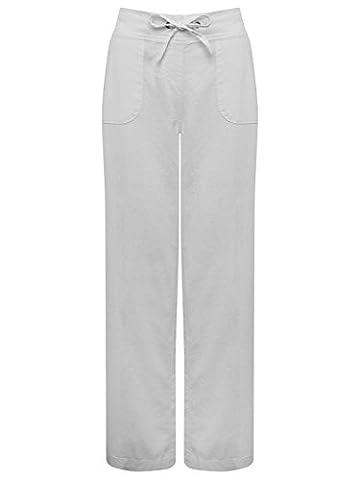 M&Co Ladies Plain Lightweight Full Length Drawstring Tie Waist Wide Leg Linen Trousers Grey 16