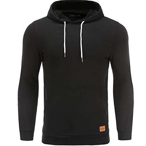 Turnglam Herren Kapuzenpullover Uni schwarz Hoodie Freizeit Pullover Slim Fit mit vorderer Tasche Kängurutasche - Mit Kapuze Slim Fit Pullover