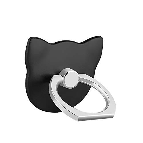 2 Pack 360 ° Rotation Universal Handy Finger Ring Ständer Holder Stand Halterung Halter Nette Runde Kickstand Metall Drehen Hand Grip Schleife für iPhone Samsung iPad Fällen Tabletten (Schwarz, A)
