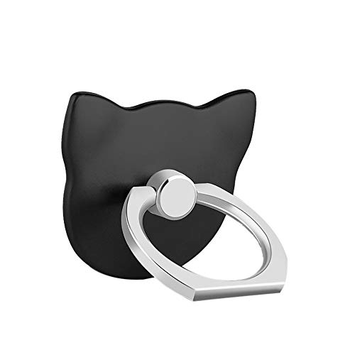 Wawer 2 Stück Katze Handy Halter Finger Ring Smartphone Metall Ständer Halter 360° Drehbarer Ringhalter Universal Smartphone Tablet Phone Ring holder (Schwarz) (Ring-halter Katze)