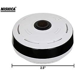 NISHICA V380-3 360 Degree Fisheye Vision Panoramic CCTV Security Spy Camera (White)