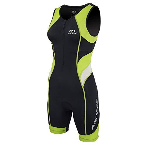 Aropec Triathlon Einteiler Lion Damen - Trisuit Women, Größe:M, Farbe:schwarz/grün