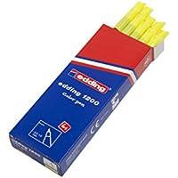 Edding 1200-065 - Rotulador con punta de fibra, 10 unidades, color amarillo neón