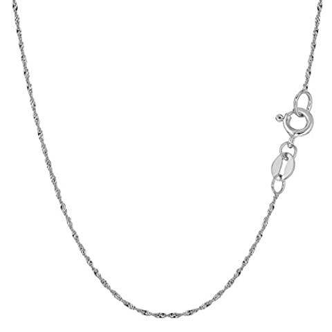10k White Gold Singapore Chain Necklace, 1.0mm, 20