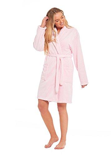 Damen Bademantel, weich, kuschelig, Wabenmuster, Kimono, flauschiger ...