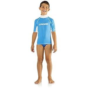 Cressi RashGuard Junior Maglia Protettiva in Tessuto Elastico con Protezione solare UV (UPF) 50+, Blu (Azzurro/Bianco), L/4 (Taglia del produttore:10-11 Anni)