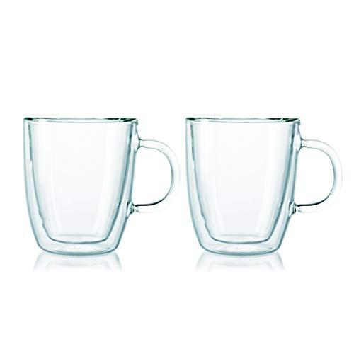 Bodum - 10604-10 - Bistro - Set de 2 Mugs en Verre Double Paroi avec Anse - 30 cl,Transparent
