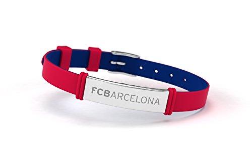 FCB Pulsera Fashion Roja, Pulsera ajustable de silicona y acero inoxidable Fútbol Club Barcelona, Producto Oficial