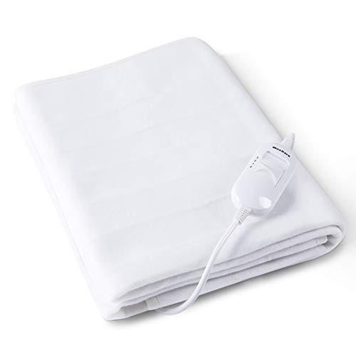 Copri materasso termico elettrico singolo 150 * 80cm con 3 gradi di temperatura e con protezione dal sovra riscaldamento, scalda sonno muscolare traspirante, poliestere lavabile