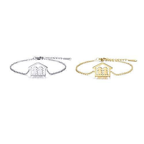 Bracciale Charm da donna Bracciale Kids Bracciale Chain acciaio inossidabile Bracciale da amicizia oro per la maa gli amici