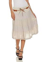 4de4552b4318 Moda Italy Mesdames jupe midi d été jupe coton longueur genou avec ceinture  volants en