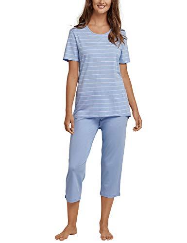 Schiesser Damen Zweiteiliger Schlafanzug, Blau (Air 802), 42 (Herstellergröße: 042) Capri-tangas