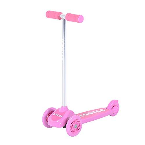 Homcom Kids Mini 3Räder Tri Scooter Kick Push Board Girl Boy Game Play Aluminium Schlepplift Tilt und Turn (Pink) (Kick Aluminium)