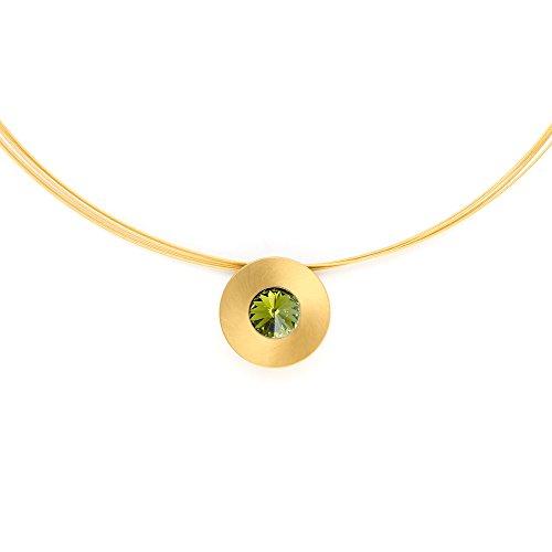 Heideman Halskette Damen Lumen aus Edelstahl Gold farbend matt Kette für Frauen mit Swarovski Stein Kristall Oliv grün im Fantasie Edelsteinschliff