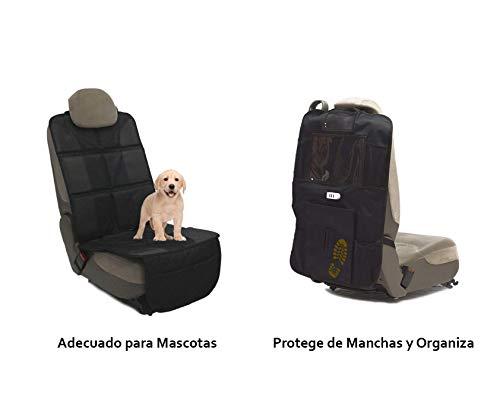 Protector De Asientos Para Coche y Organizador | 3 USB Para Tablets y Móviles | Material Oxford 600D | Tamaño Universal | Protege Manchas De Niños y Mascotas Impermeable | Wokak