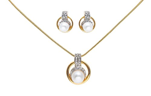 Viva 18k Gold Two Tone Plated Pearl Beauty Thread of Love Designer Chain Pendant with Earrings in AAA Austrian Crystals Diamonds for Women