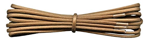 Fabmania 2 mm ronda luz marrón algodón encerado Cordones-75 cm de longitud-cordones finos para zapatos de vestir y botas.