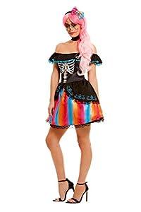 Smiffys 51046S - Disfraz para mujer del Día de los Muertos, talla S, color negro