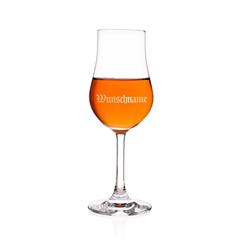 Privatglas Graviertes Whiskyglas mit Stil mit Wunschnamen in altdeutscher Schrift