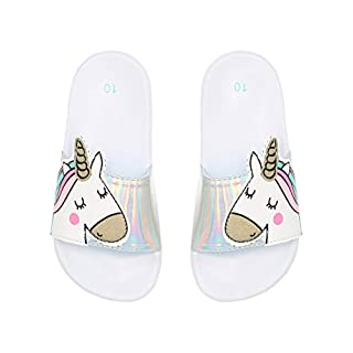M&Co Girls Unicorn Slider Sandals White UK 11/12