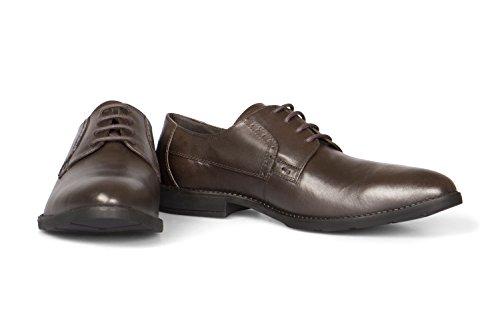 Vileano Buisinessschuhe Derby Gr. 45 Dunkelbraun (Braune Leder Herren Schuhe)